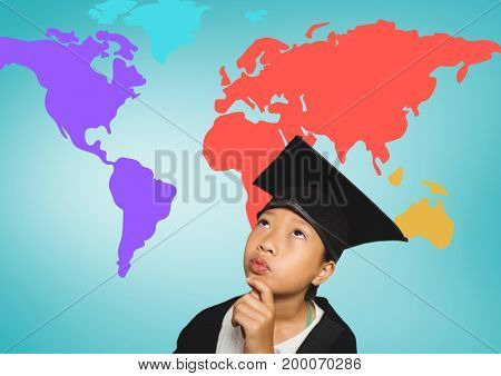 Digital composite of Girl with graduation hat in front of colorful world map