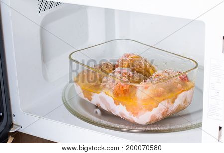 Frozen food in the in the microwave