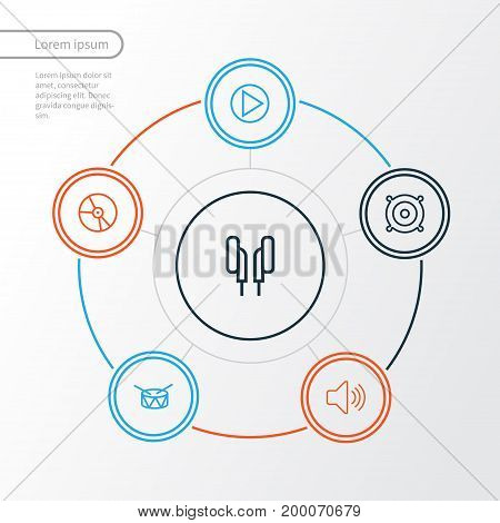 Music Outline Icons Set. Collection Of Plastic, Barrel, Orator And Other Elements