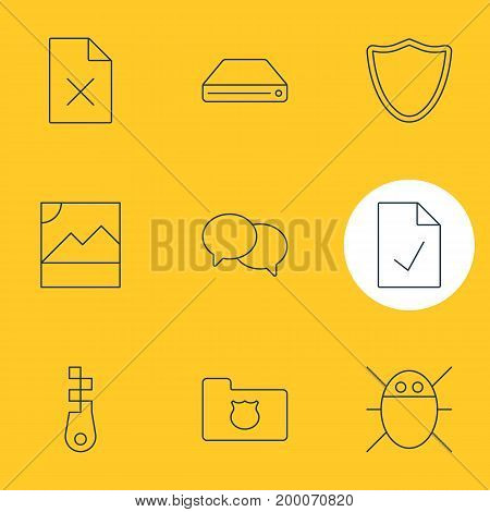 Editable Pack Of Computer Virus, Safeguard, Fastener And Other Elements.  Vector Illustration Of 9 Internet Icons.