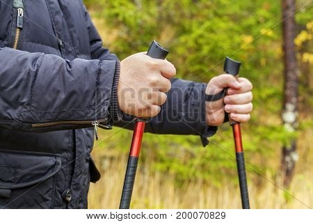 Hiker with hiking poles in forest .