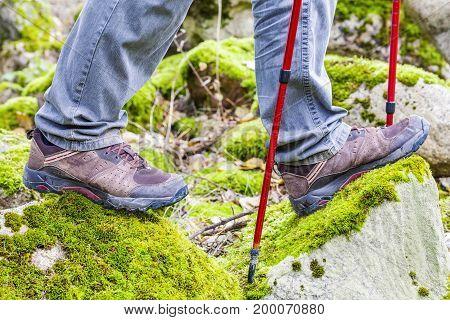 Hiker in rocky area in summer day