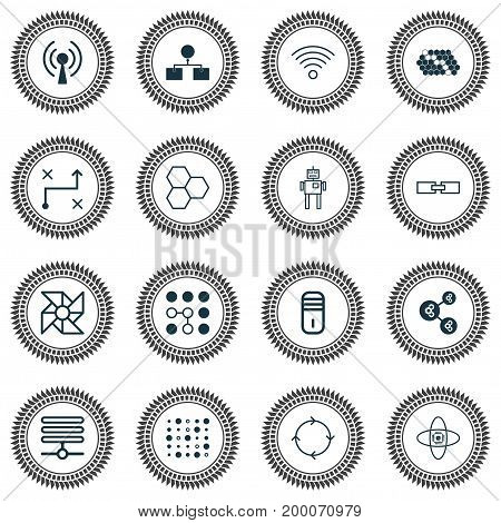 Machine Icons Set. Collection Of Algorithm Illustration, Related Information, Hive Pattern And Other Elements