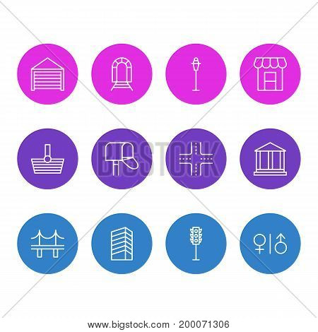Editable Pack Of Skyscraper, Courthouse, Parking And Other Elements.  Vector Illustration Of 12 Urban Icons.