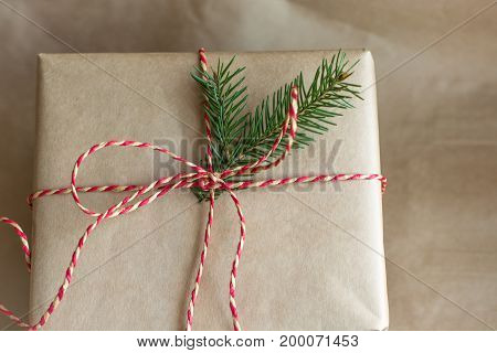 Christmas or new year gift box with red ribbon from craft paper and fir tree. Close up.