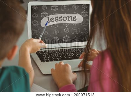 Digital composite of Kids using a computer with school icons on screen