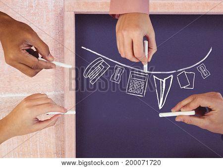 Digital composite of Hands drawing stationery on blackboard