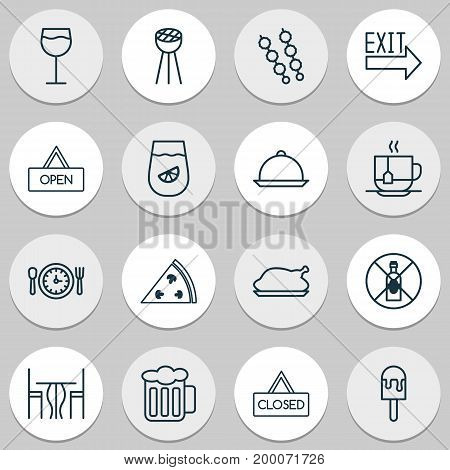 Eating Icons Set. Collection Of Stick Barbecue, Meal Hour, Wineglass And Other Elements