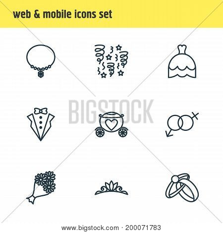 Editable Pack Of Jewelry, Chariot, Engagement And Other Elements.  Vector Illustration Of 9 Engagement Icons.
