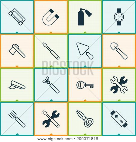 Instrument Icons Set. Collection Of Garden Fork, Timer, Password And Other Elements