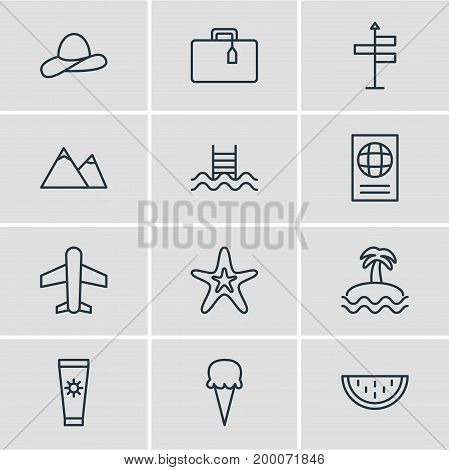 Editable Pack Of Melon, Sorbet, Hill And Other Elements.  Vector Illustration Of 12 Season Icons.