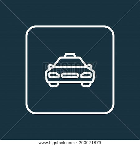 Premium Quality Isolated Taxi  Element In Trendy Style.  Cab Outline Symbol.