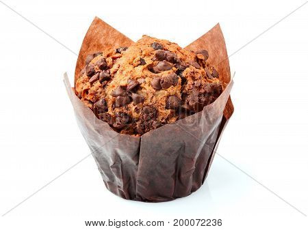 Chocolate muffins closeup isolated on white background.