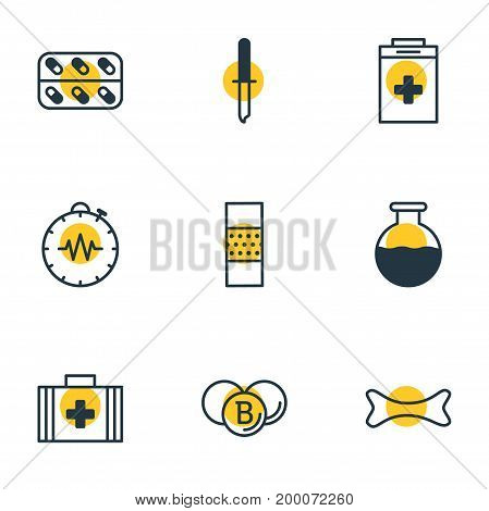 Editable Pack Of Pressure Gauge, Exigency, Painkiller And Other Elements.  Vector Illustration Of 9 Medicine Icons.