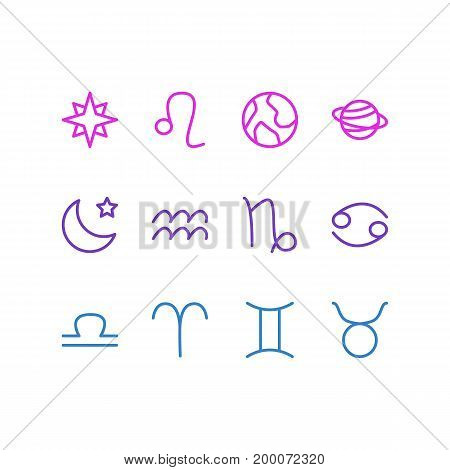 Editable Pack Of Ram, Water Bearer, Scales And Other Elements.  Vector Illustration Of 12 Constellation Icons.