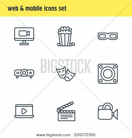 Editable Pack Of Camera, Slideshow, Television And Other Elements.  Vector Illustration Of 9 Film Icons.