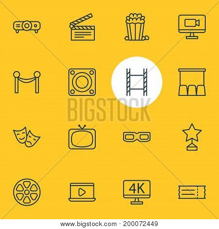 Editable Pack Of Monitor, Filmstrip, Movie Reel And Other Elements.  Vector Illustration Of 16 Movie Icons.