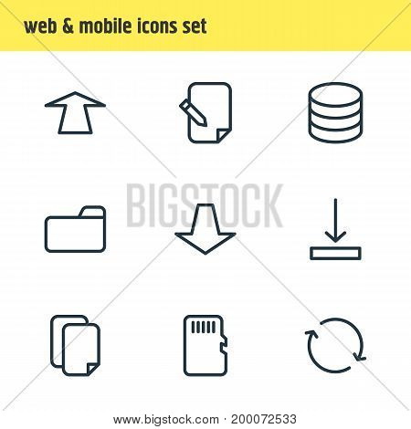 Editable Pack Of Dossier, Memory, Synchronize And Other Elements.  Vector Illustration Of 9 Memory Icons.