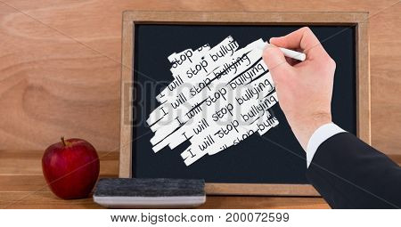 Digital composite of Hand writing i will stop bullying on blackboard