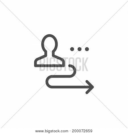 Person displacement line icon isolated on white. Vector illustration