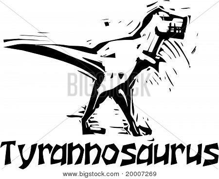 Woodcut Tyrannosaurus Rex Dinosaur
