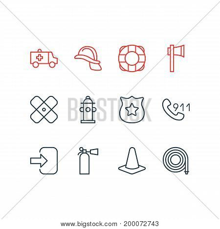 Editable Pack Of First-Aid, Ax, Taper And Other Elements.  Vector Illustration Of 12 Emergency Icons.