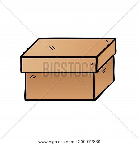 Cartoon box. Vector illustration. Box on white background isolated