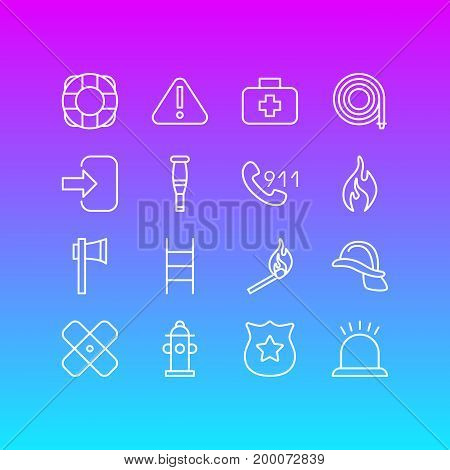 Editable Pack Of Door, Alarm, Burn And Other Elements.  Vector Illustration Of 16 Necessity Icons.
