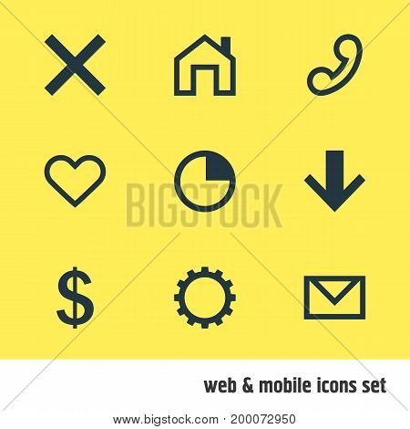 Editable Pack Of Mainpage, Downward, Cogwheel And Other Elements.  Vector Illustration Of 9 User Icons.
