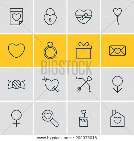 Editable Pack Of Lock, Male, Gift And Other Elements.  Vector Illustration Of 16 Passion Icons.