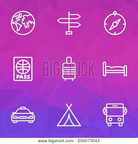 Exploration Outline Icons Set. Collection Of Earth, Canopy, Bedstead And Other Elements