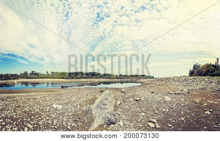 Panoramic View Of A Dry River In Summer