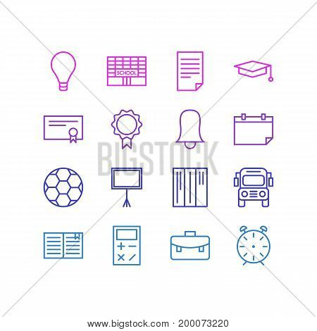 Editable Pack Of Textbook, Bookshelf, Football And Other Elements.  Vector Illustration Of 16 Education Icons.