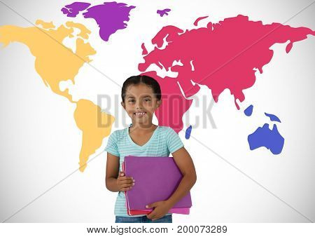 Digital composite of Schoolgirl in front of colorful world map