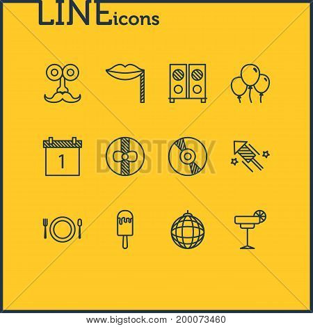 Editable Pack Of Speaker, Man Style, Nightclub Ball And Other Elements.  Vector Illustration Of 12 Banquet Icons.