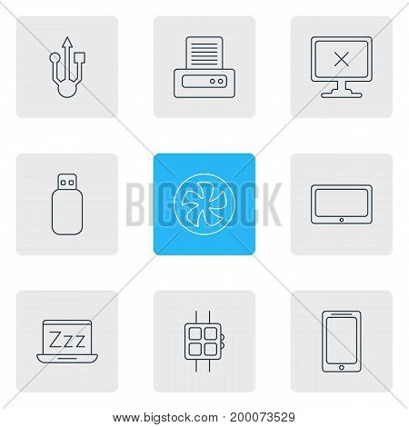 Editable Pack Of Tablet, Flash Drive, Laptop And Other Elements.  Vector Illustration Of 9 Laptop Icons.