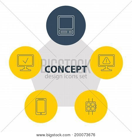 Editable Pack Of Online Computer, Warning, Smartphone And Other Elements.  Vector Illustration Of 5 Computer Icons.