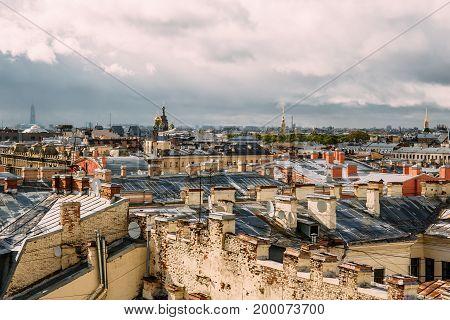 Panoramic view of skyline horizon of tops of roofs of Saint Petersburg, Russia