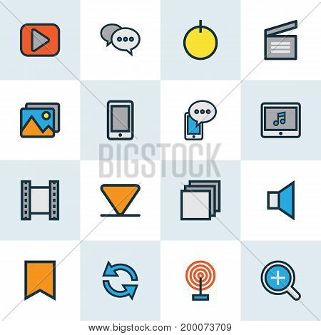 Multimedia Colorful Outline Icons Set. Collection Of Flag, Zoom In, Cellphone And Other Elements