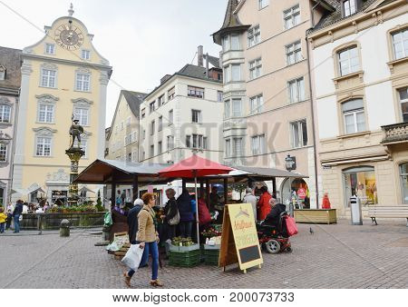 Zurich Switzerland May 30, 2014 : civilian and tourist buy some vegetable and fruit in grocery shop on street of middle Zurich old town