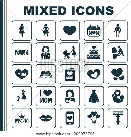 Mothers Day Icon Design Concept. Set Of 25 Such Elements As Heart, Holiday And Mouth
