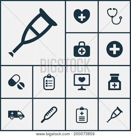 Drug Icons Set. Collection Of Mark, Heal, Diagnosis And Other Elements