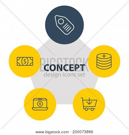 Editable Pack Of Plus, Buy, Trading And Other Elements.  Vector Illustration Of 5 Commerce Icons.