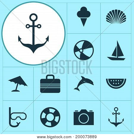 Season Icons Set. Collection Of Mammal, Conch, Armature And Other Elements