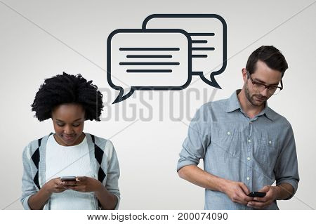 Digital composite of Business people with speech bubbles looking at the phone against grey background