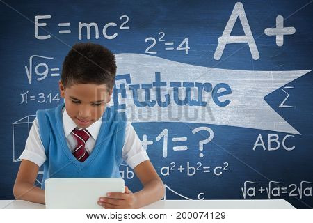 Digital composite of Student boy at table using a tablet against blue blackboard with future text