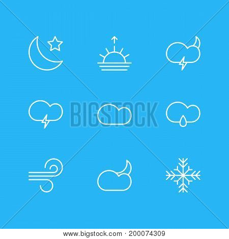 Editable Pack Of Drizzles, Snow, Moon Month And Other Elements.  Vector Illustration Of 9 Sky Icons.