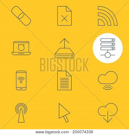 Editable Pack Of Secure Laptop, Wave, Delete Data And Other Elements.  Vector Illustration Of 12 Web Icons.