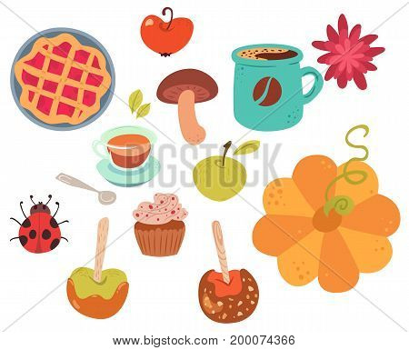 Set of cute autumn food. Desserts coffee tea and decorations. Vector illustration of white background.