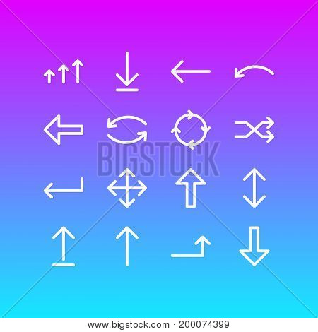 Editable Pack Of Increase, Direction, Up And Other Elements.  Vector Illustration Of 16 Arrows Icons.